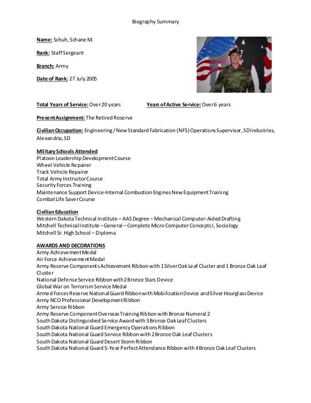 Military biographical summary for Army board bio template
