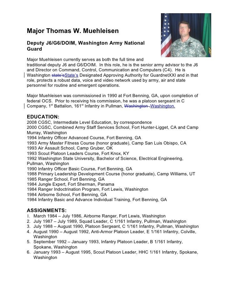 Military biography for Army board bio template