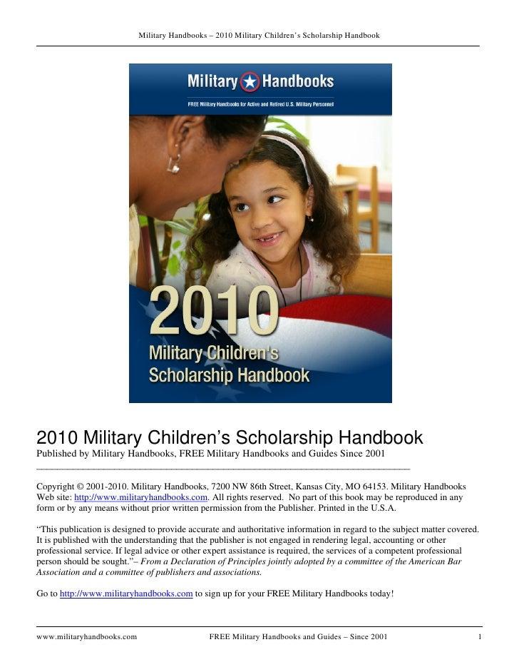 Military Handbooks – 2010 Military Children's Scholarship Handbook     2010 Military Children's Scholarship Handbook Publi...