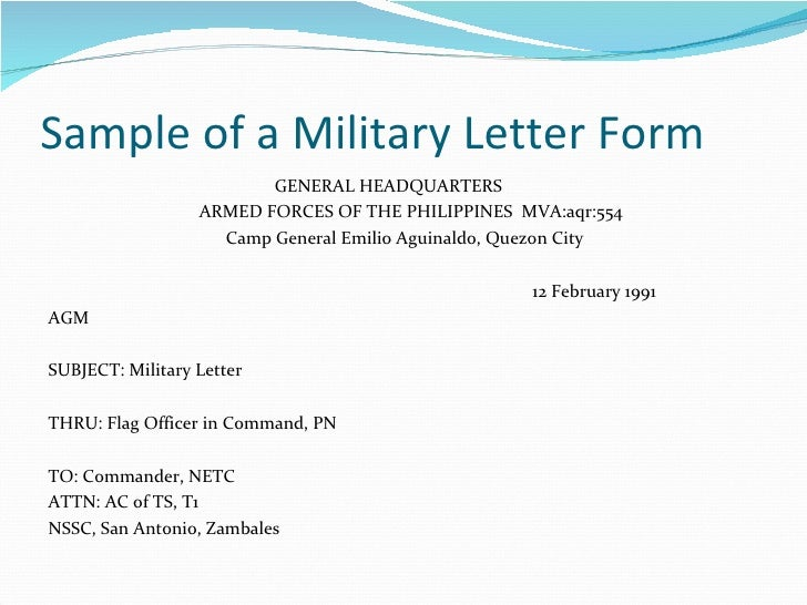 sample of a military letter
