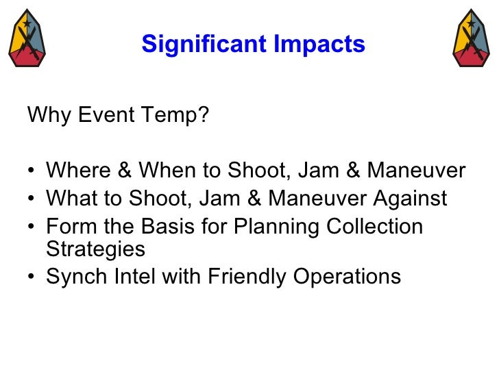 Significant Impacts <ul><li>Why Event Temp? </li></ul><ul><li>Where & When to Shoot, Jam & Maneuver </li></ul><ul><li>What...