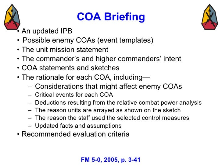 Military decision making process mar 08 3 39 coa briefing pronofoot35fo Images