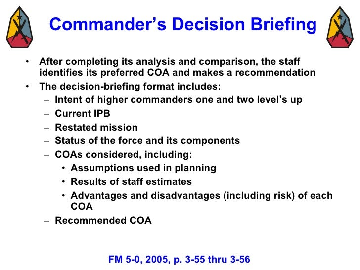 Military decision making process mar 08 3 3 55 57 commanders decision briefing pronofoot35fo Images