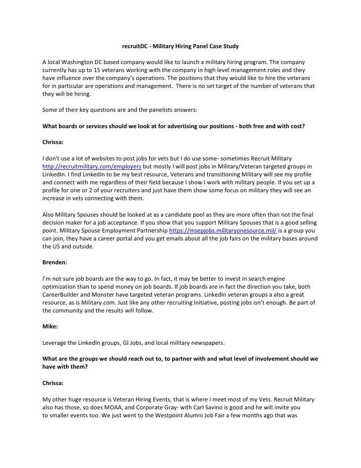 recruitDC - Military Hiring Panel Case StudyA local Washington DC based company would like to launch a military hiring pro...
