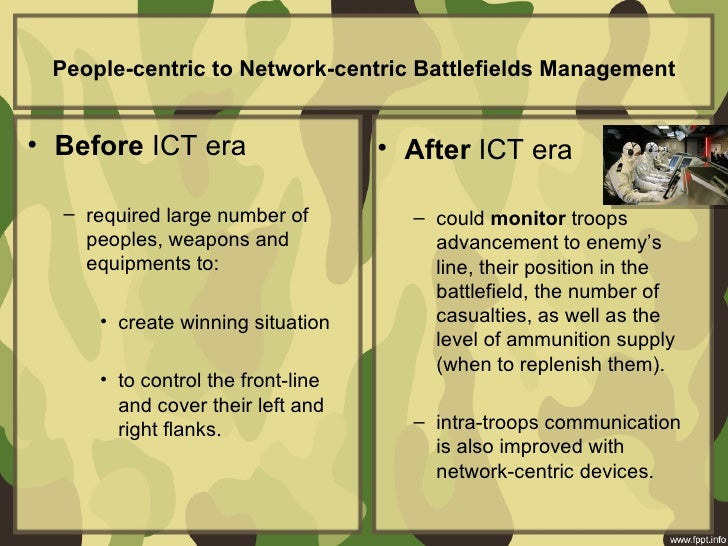 People-centric to Network-centric Battlefields Management• Before ICT era • After ICT era – required la...