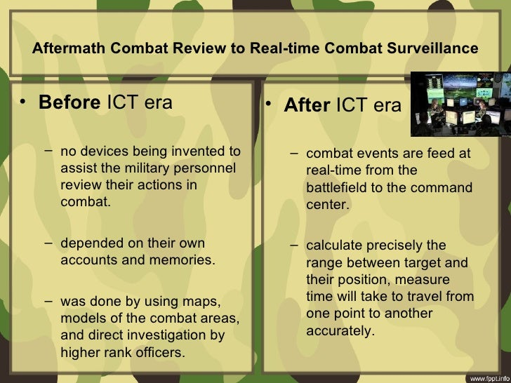 Aftermath Combat Review to Real-time Combat Surveillance• Before ICT era • After ICT era – no devices ...