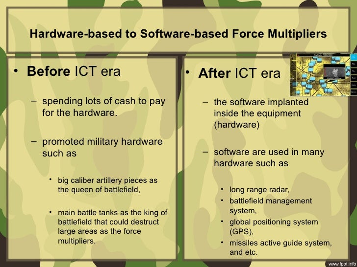 Hardware-based to Software-based Force Multipliers• Before ICT era • After ICT era – spending lo...