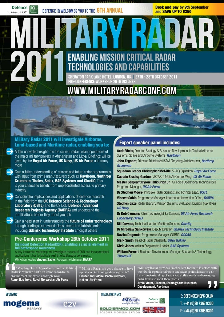 Book and pay by 9th September                             Defence IQ welcomes you to the                9th annual        ...