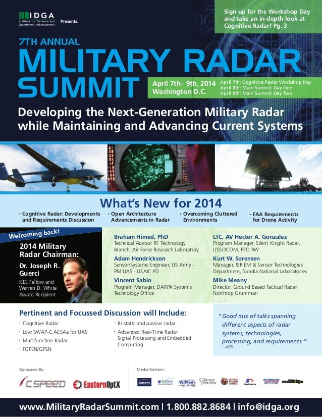 Sign up for the Workshop Day and take an in-depth look at Cognitive Radar! Pg. 3  Presents:  7TH ANNUAL  MILITARY RADAR SU...
