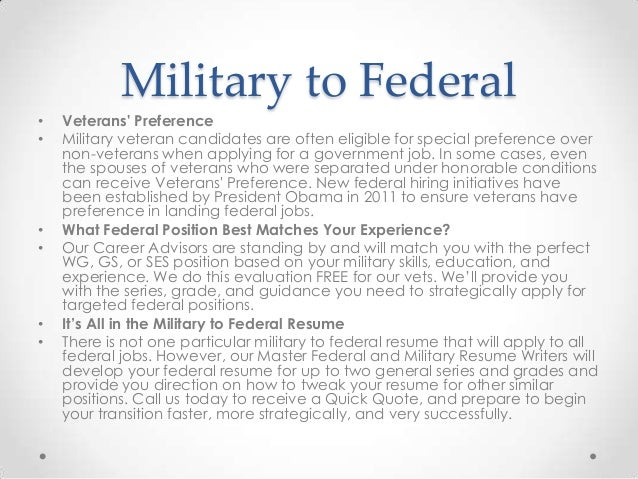 military to federal resumes