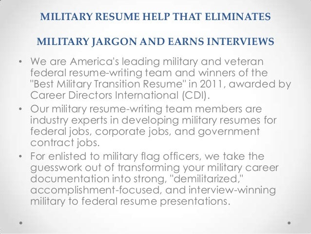 military resume writing service