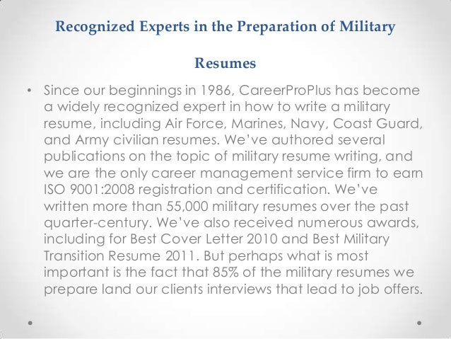 7 recognized experts in the preparation of military resumes