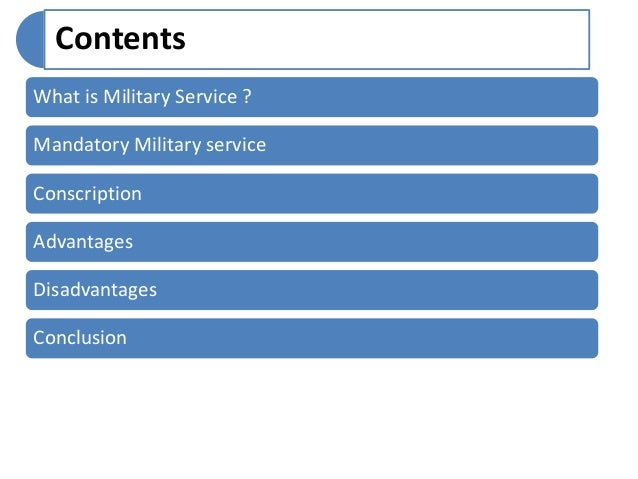 Persuasive Essay : What Is A Mandatory Military Service? | Bartleby