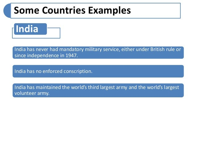 essay on military service List of cons of mandatory military service 1 violates free will one of the arguments raised against mandatory military service is that it violates people's rights to exercise free will.