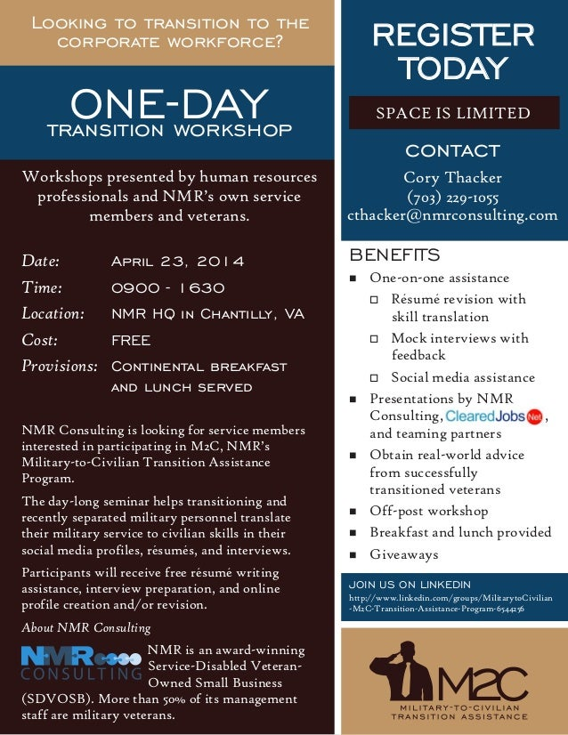 Date: April 23, 2014 Time: 0900 - 1630 Location: NMR HQ in Chantilly, VA Cost: FREE Provisions: Continental breakfast and ...