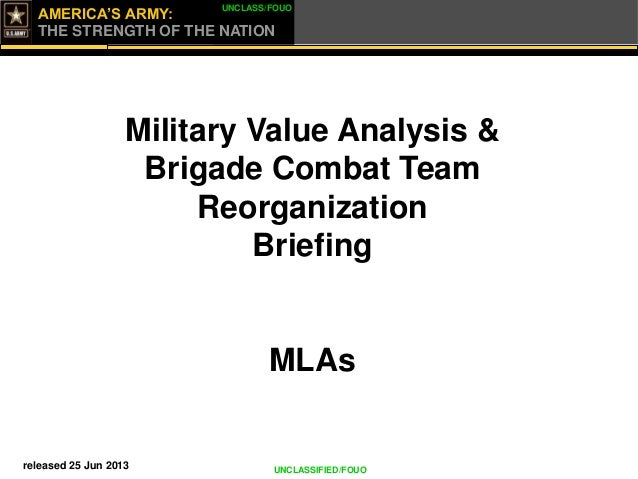 AMERICA'S ARMY: THE STRENGTH OF THE NATION UNCLASS/FOUO UNCLASSIFIED/FOUO Military Value Analysis & Brigade Combat Team Re...