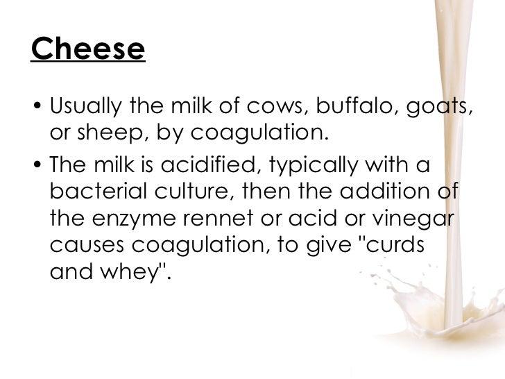Cheese <ul><li>Usually the milk of cows, buffalo, goats, or sheep, by coagulation.  </li></ul><ul><li>The milk is acidifie...