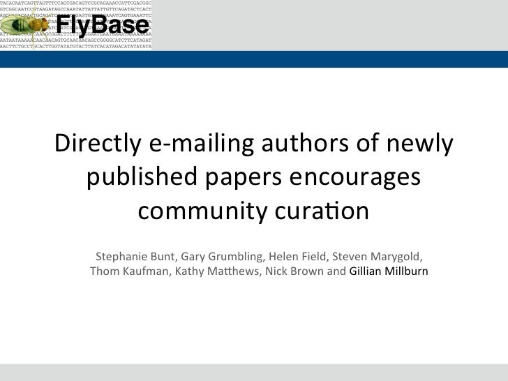 Directly	  e-­‐mailing	  authors	  of	  newly	     published	  papers	  encourages	          community	  cura8on	       St...