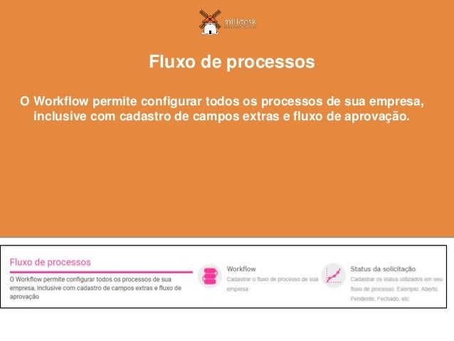 O Workflow permite configurar todos os processos de sua empresa, inclusive com cadastro de campos extras e fluxo de aprova...