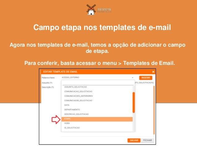 Agora nos templates de e-mail, temos a opção de adicionar o campo de etapa. Campo etapa nos templates de e-mail Para confe...