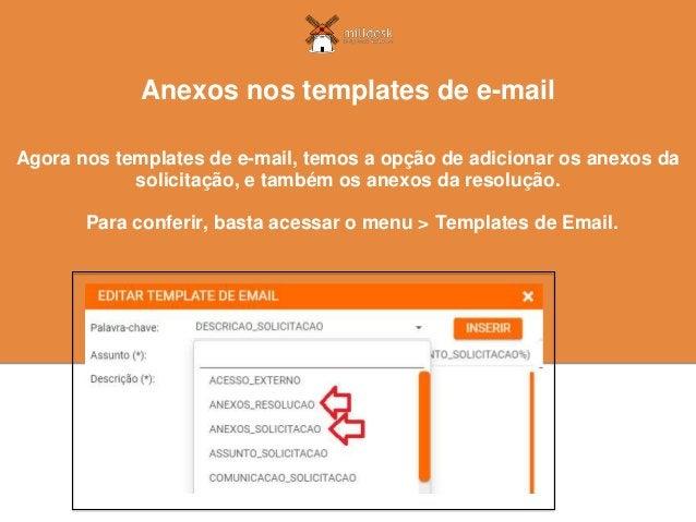 Agora nos templates de e-mail, temos a opção de adicionar os anexos da solicitação, e também os anexos da resolução. Anexo...