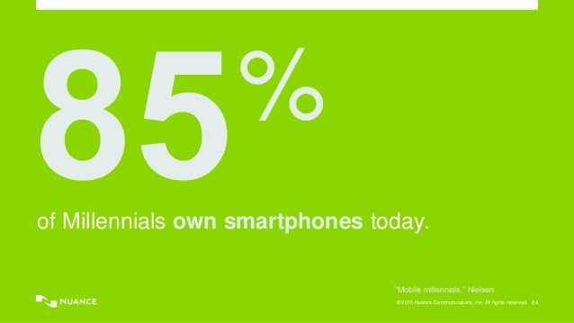 """© 2015 Nuance Communications, Inc. All rights reserved. 24 % of Millennials own smartphones today. """"Mobile millennials,"""" N..."""