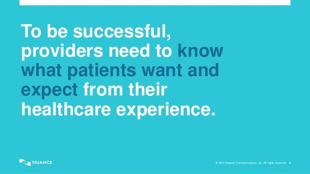 © 2015 Nuance Communications, Inc. All rights reserved. 5 To be successful, providers need to know what patients want and ...