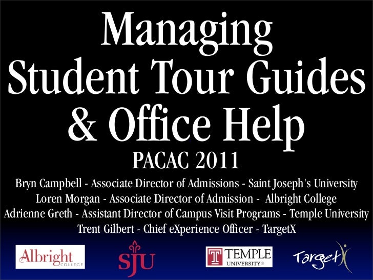 ManagingStudent Tour Guides   & Office Help                      Text                            PACAC 2011  Bryn Campbell...