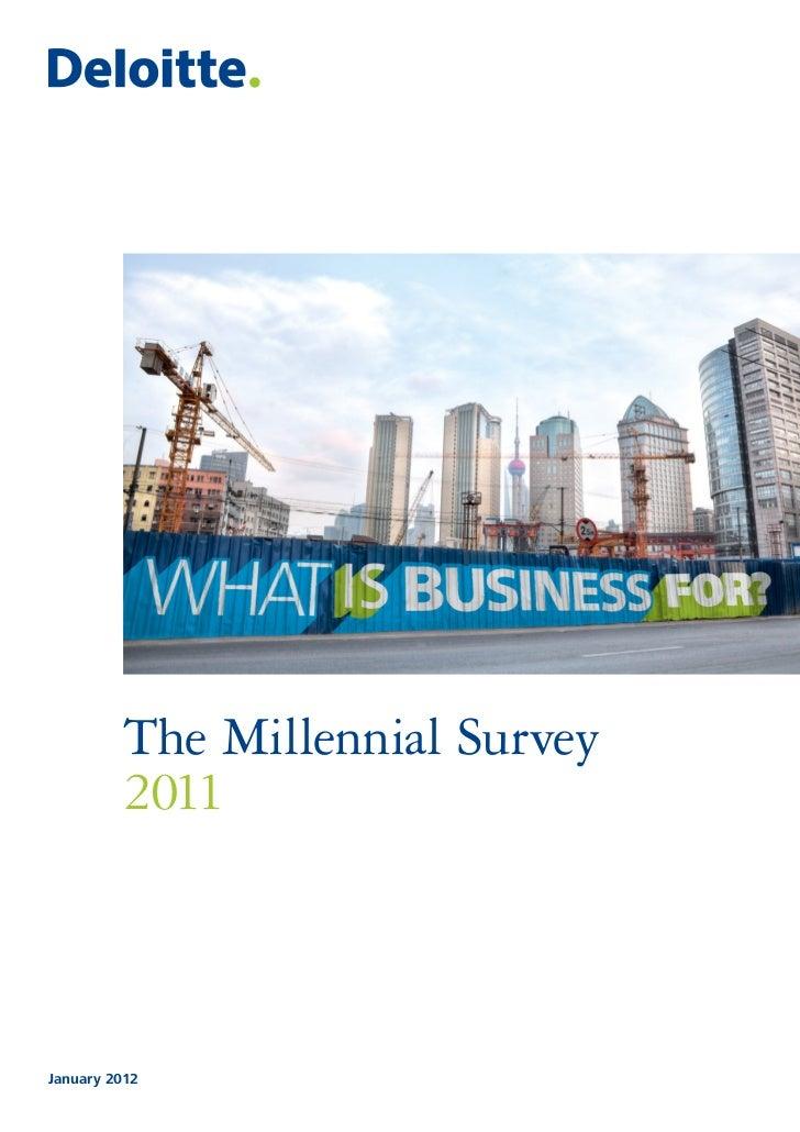 The Millennial Survey         2011January 2012