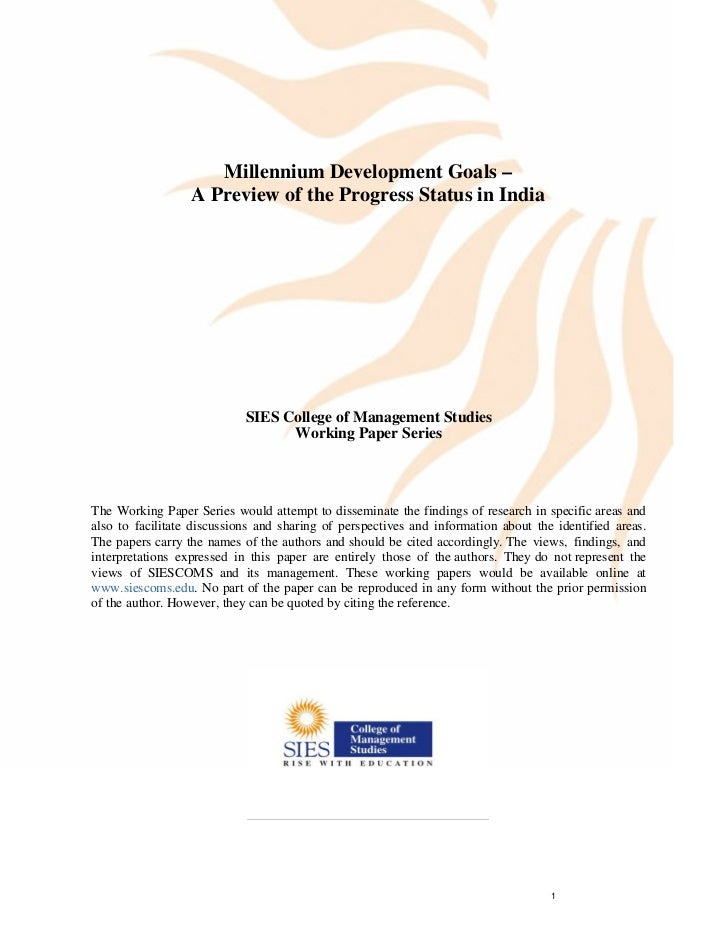 Implementation of MDGs in India                     Millennium Development Goals –                  A Preview of the Progr...