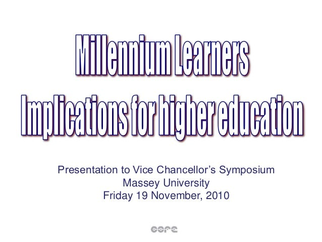 Presentation to Vice Chancellor's Symposium Massey University Friday 19 November, 2010