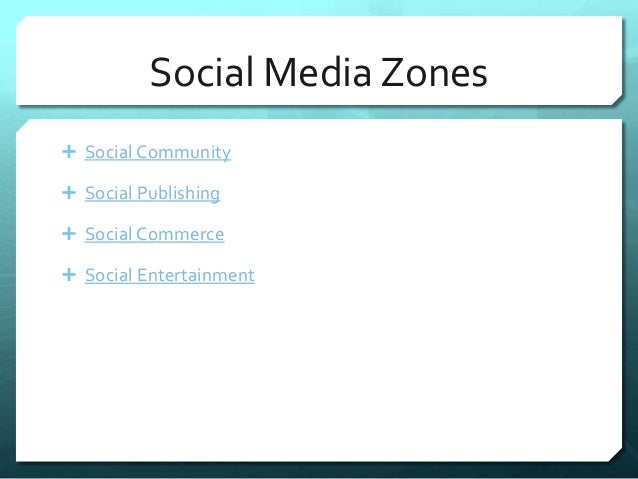 Social Media Zones   Social Community   Social Publishing   Social Commerce   Social Entertainment