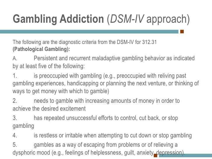 Dsm-iv-tr criteria for pathological gambling sports gambling should be illegal