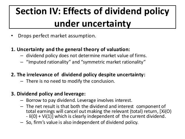 """modigliani miller irrelevancy hypothesis of the dividends policy of an organisation The dividend irrelevance of miller and modigliani (1961), the sarbanes-oxley act of  that dividend policy was irrelevant de angelo and de angelo (2006, p 294) state that  of those parts of the economic theory of valuation bearing directly on the matter of dividend policy"""" (1961, p 411)."""