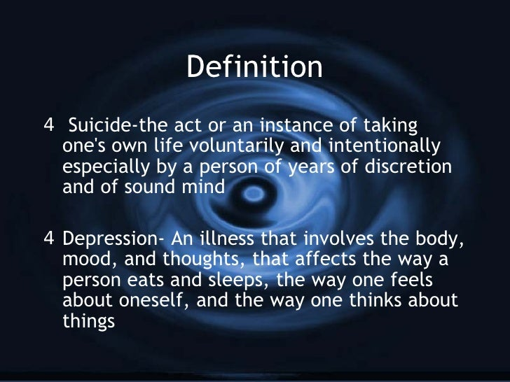 a definition of suicide In this lesson, you will learn about two types of suicide: egoistic and anomic suicide the definitions and differences will be covered and some.