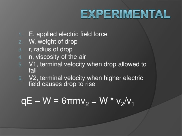 Experimental<br />E, applied electric field force<br />W, weight of drop<br />r, radius of drop<br />n, viscosity of the a...