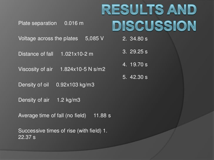 Results and Discussion<br />Plate separation     0.016 m<br />Voltage across the plates     5,085 V<br />Distance of fall ...