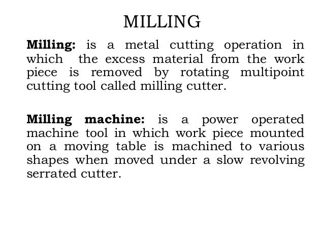 milling machine uses