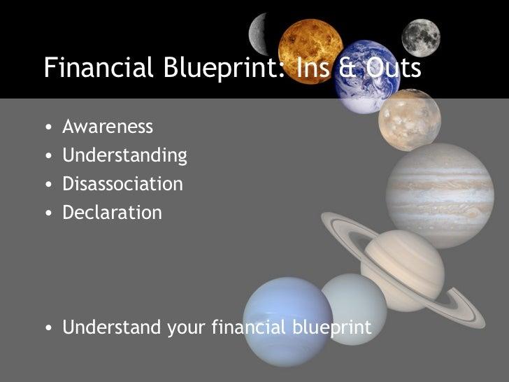 Financial Blueprint: Ins & Outs <ul><li>Awareness </li></ul><ul><li>Understanding </li></ul><ul><li>Disassociation </li></...