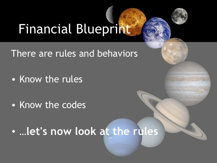 Financial Blueprint <ul><li>There are rules and behaviors  </li></ul><ul><li>Know the rules  </li></ul><ul><li>Know the co...