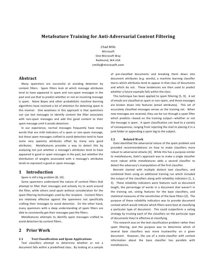 Metafeature Training for Anti-Adversarial Content Filtering                                                               ...
