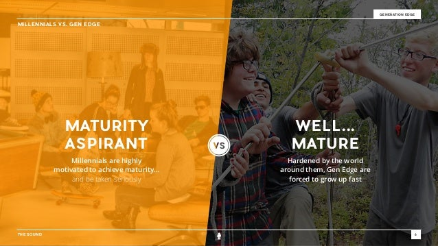 THE SOUND 6 GENERATION EDGE MILLENNIALS VS. GEN EDGE Millennials are highly  motivated to achieve maturity… and be taken ...