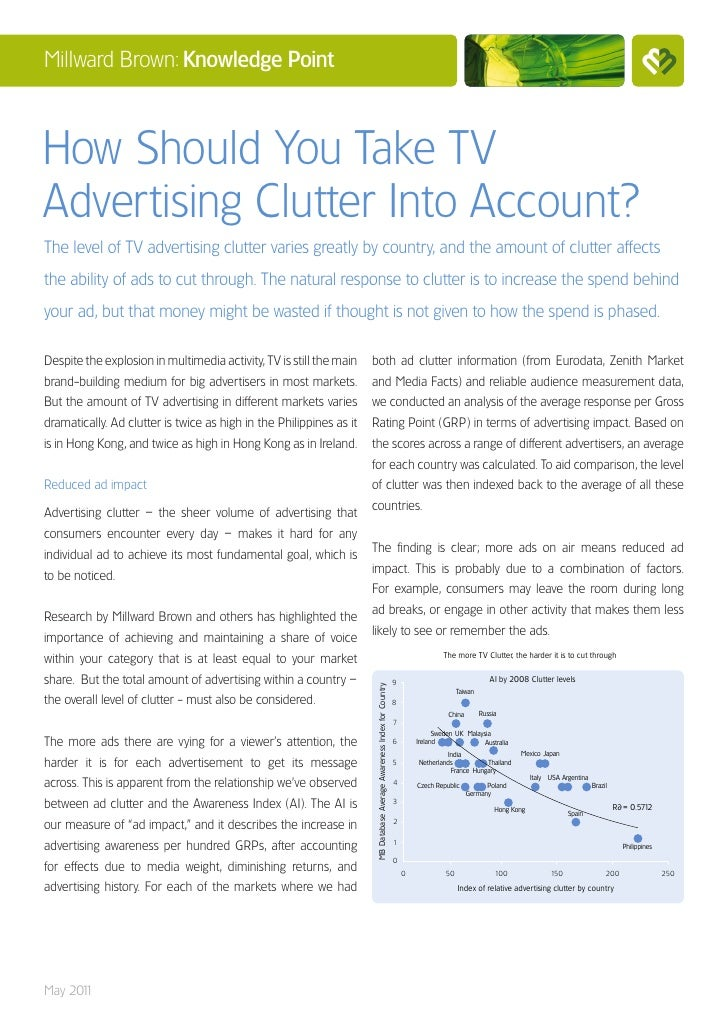 Millward Brown: Knowledge PointHow Should You Take TVAdvertising Clutter Into Account?The level of TV advertising clutter ...