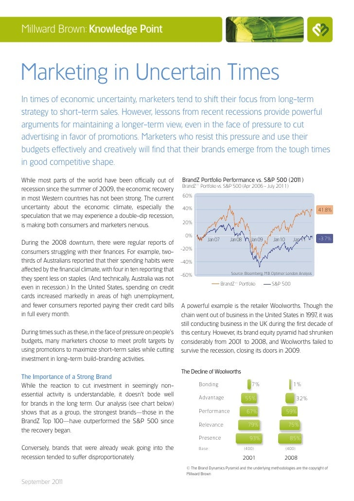 Millward Brown: Knowledge PointMarketing in Uncertain TimesIn times of economic uncertainty, marketers tend to shift their...