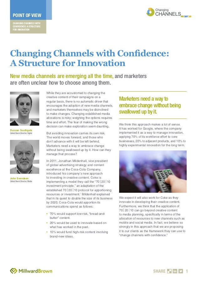 POINT OF VIEW   CHANGING CHANNELS WITH   CONFIDENCE: A STRUCTURE   FOR INNOVATIONChanging Channels with Confidence:A Struc...