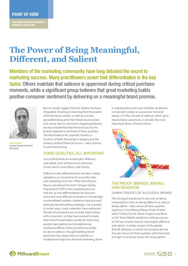 POINT OF VIEW   THE POWER OF BEING MEANINGFUL,   DIFFERENT, AND SALIENTThe Power of Being Meaningful,Different, and Salien...