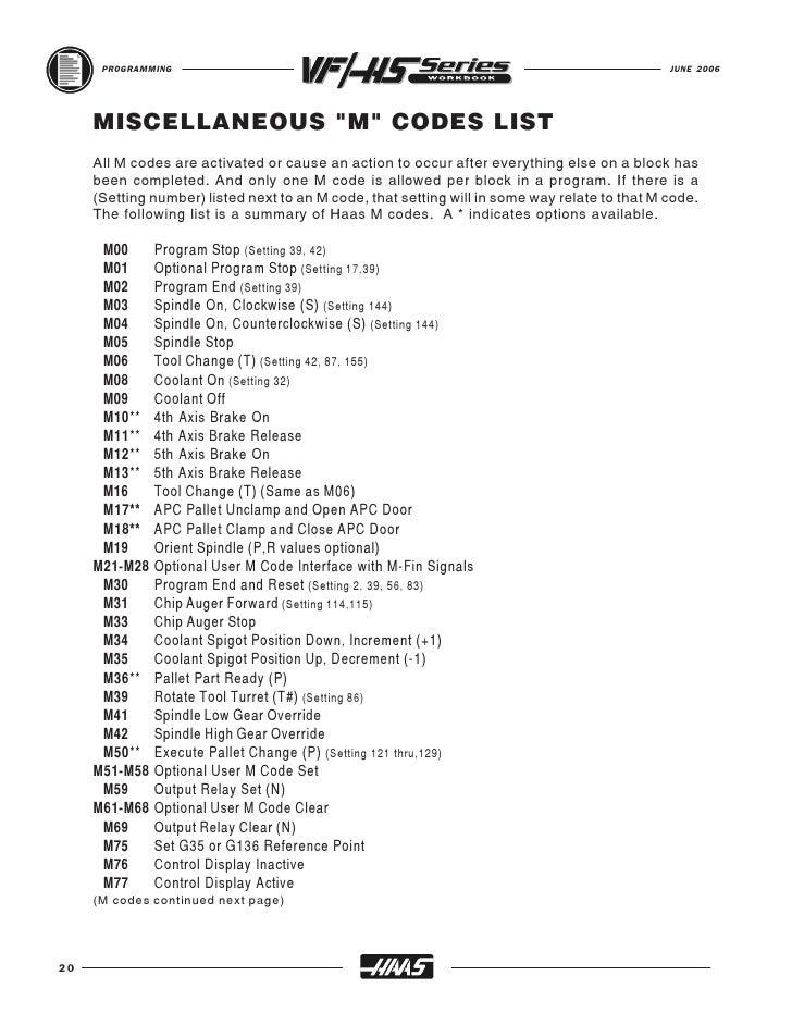 HAAS Mill Workbook