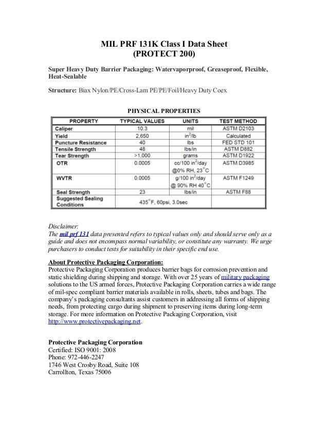 MIL PRF 131K Class I Data Sheet(PROTECT 200)Super Heavy Duty Barrier Packaging: Watervaporproof, Greaseproof, Flexible,Hea...