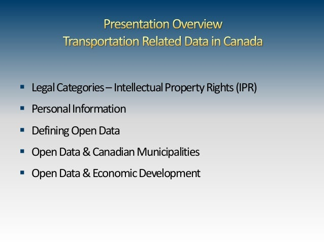Open Data - Legal Framework & Municipal Economic Development Opportunities Slide 3
