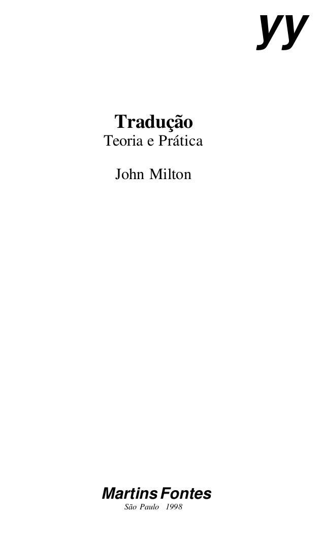 Tradução Teoria e Prática John Milton Martins Fontes São Paulo 1998 yy